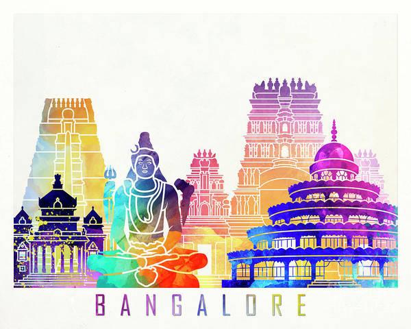 Wall Art - Painting - Bangalore Landmarks Watercolor Poster by Pablo Romero