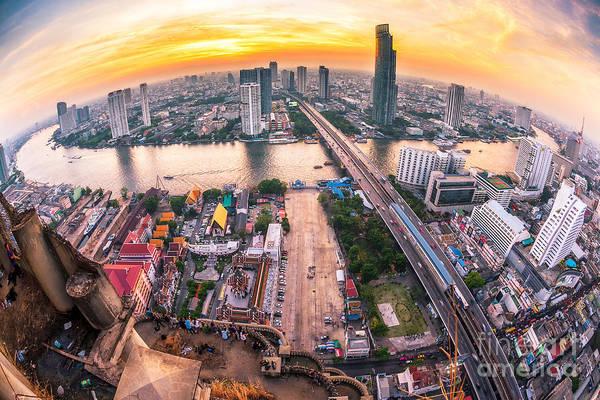 Bus Wall Art - Photograph - Bangkok City At Sunset Taksin Bridge by Travel Mania