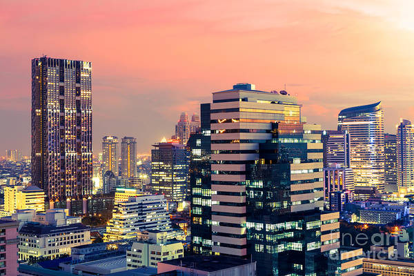 Midtown Photograph - Bangkok Cityscape At Twilight, Thailand by Twstock