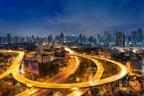 Wall Art - Photograph - Bangkok Cityscape. Bangkok Night View by Weerasak Saeku