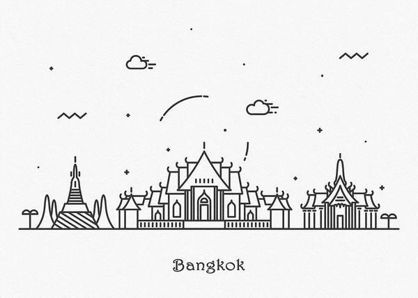 Landmark Center Drawing - Bangkok Cityscape Travel Poster by Inspirowl Design
