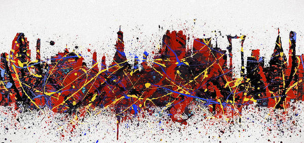 Wall Art - Painting - Bangkok Colorful Skyline by Dan Sproul