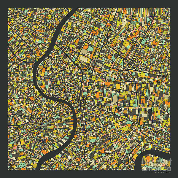 Detail Digital Art - Bangkok Map 2 by Jazzberry Blue