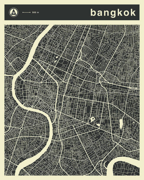 Wall Art - Digital Art - Bangkok Map 3 by Jazzberry Blue