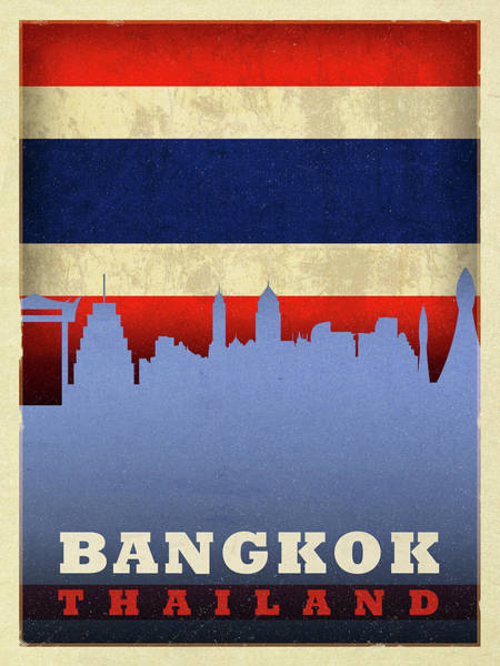 Wall Art - Mixed Media - Bangkok Thailand World City Flag Skyline by Design Turnpike