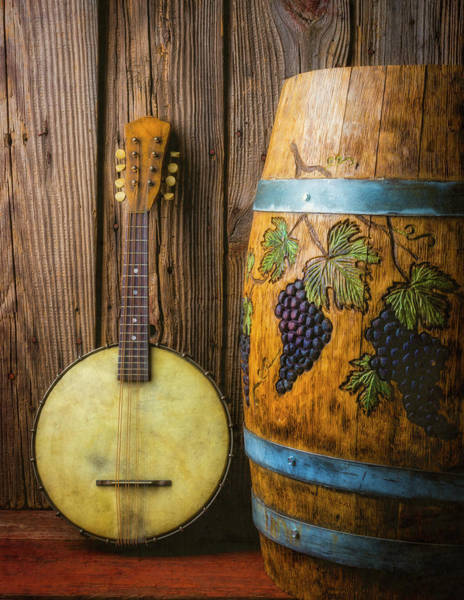 Wall Art - Photograph - Banjo And Graped Carved Wine Barrel by Garry Gay