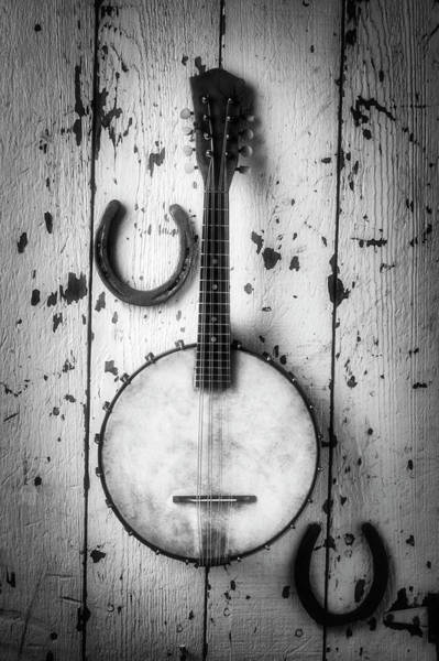 Wall Art - Photograph - Banjo And Horseshoes Black And White by Garry Gay