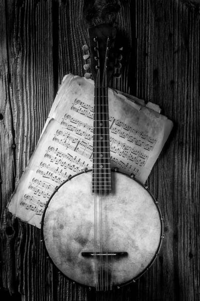 Bluegrass Photograph - Banjo And Sheet Music Black And White by Garry Gay