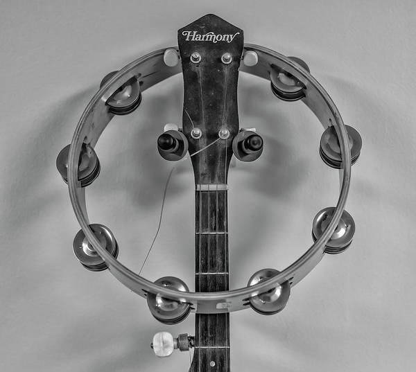 Photograph - Banjo And Tamboreen In Black And White by Bill Cannon