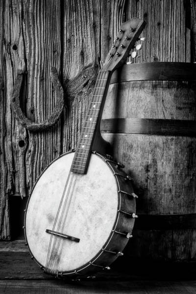 Wall Art - Photograph - Banjo And Wine Barrel Black And White by Garry Gay
