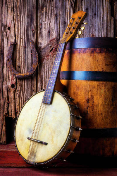 Wall Art - Photograph - Banjo And Wine Barrel by Garry Gay