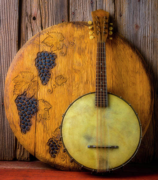Wall Art - Photograph - Banjo And Wine Barrel Lid by Garry Gay