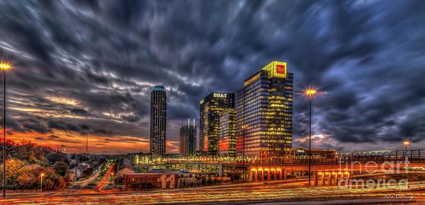 Georgia Power Company Photograph - Banking Giants 2 Atlantic Station Sunset Atlanta Georgia Art by Reid Callaway