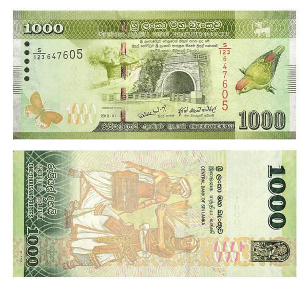 Wall Art - Photograph - Banknotes 1000 Sri Lankan Rupees Front And Back Sri Lanca by imageBROKER - Andrey Nekrasov