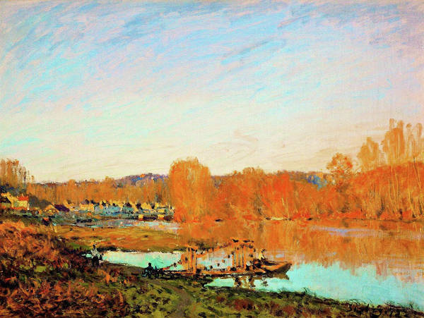 Riverbed Painting - Banks Of The Seine Near Bougival - Digital Remastered Edition by Alfred Sisley
