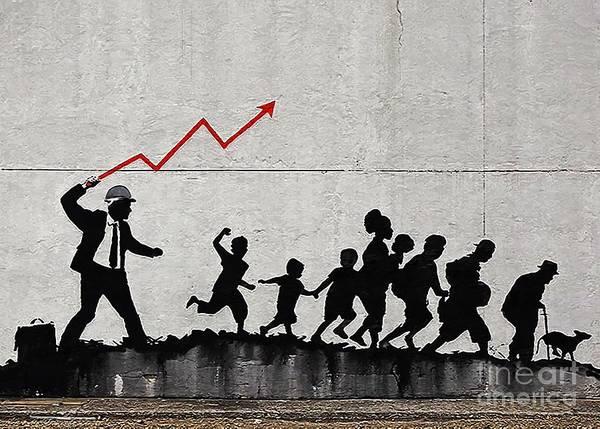 Streetart Mixed Media - Banksy Capitalism Stockmarket Wallstreet by Streetart