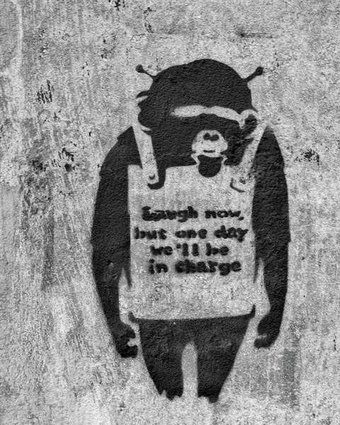 Photograph - Banksy Chimp Laugh Now Graffiti by Gigi Ebert