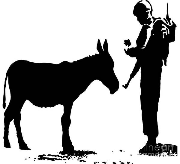 Streetart Mixed Media - Banksy Donkey Documents Checked By Soldier Stencil by Streetart