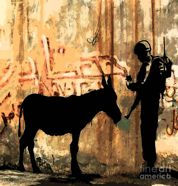 Streetart Mixed Media - Banksy Donkey Documents Checked By Soldier by Streetart