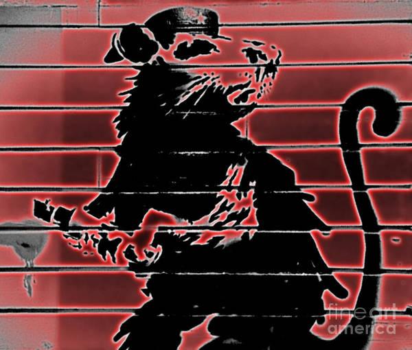 Streetart Mixed Media - Banksy Haight Street Rat Red by Streetart
