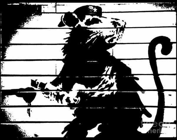 Streetart Mixed Media - Banksy Haight Street Rat White Print by Streetart