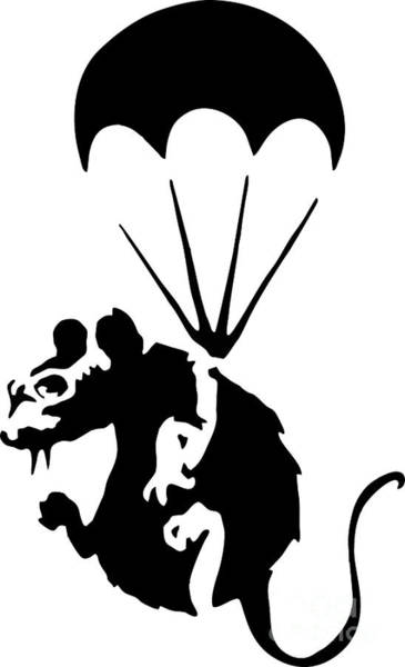 Streetart Mixed Media - Banksy Parachuting Rat by Streetart