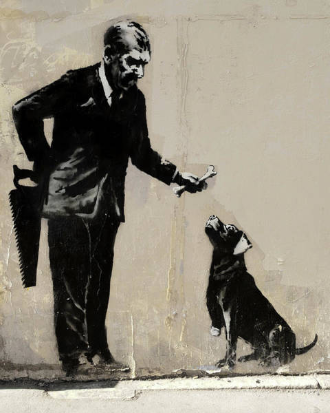 Photograph - Banksy Paris Man With Bone And Dog by Gigi Ebert