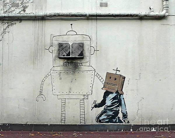 Streetart Mixed Media - Banksy Robot Torquay by Streetart