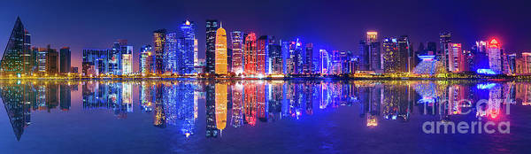 Photograph - Banner Doha Skyline Night by Benny Marty