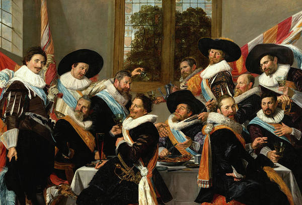 Wall Art - Painting - Banquet Of The Officers Of The St Adrian Civic Guard, The Calivermen, 1627 by Frans Hals