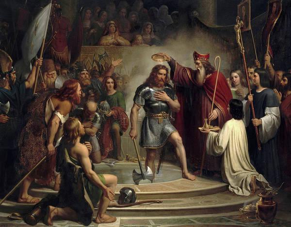Wall Art - Painting - Bapteme De Clovis A Reims by Francois-Louis Dejuinne