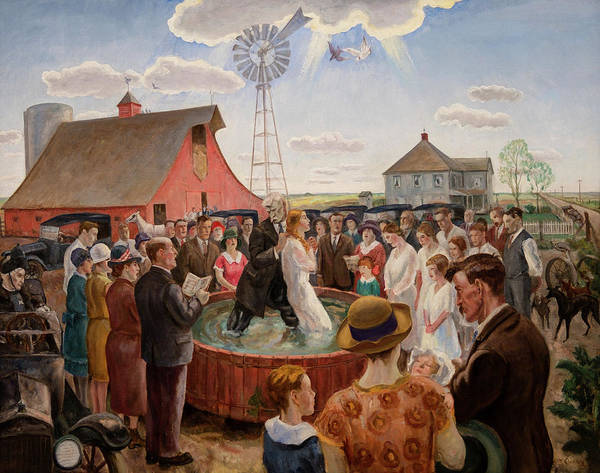 Wall Art - Painting - Baptism In Kansas by John Steuart Curry