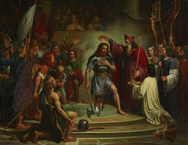Wall Art - Painting - Baptism Of Clovis At Reims, 25 December 496 by Francois-Louis Dejuinne