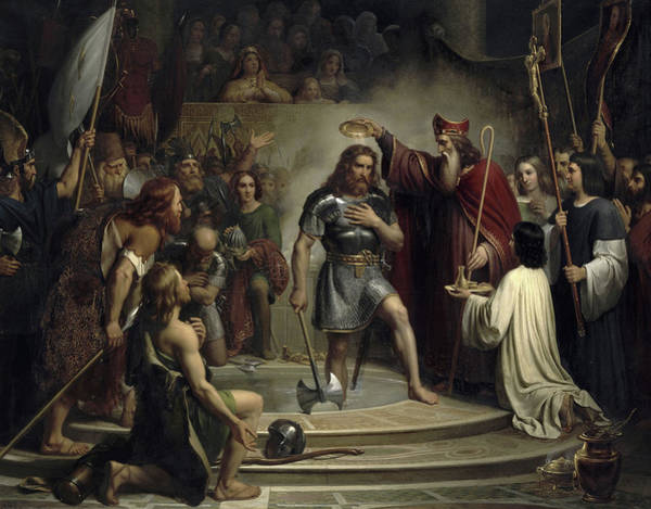 Wall Art - Painting - Baptism Of Clovis At Reims, 496 by Francois-Louis Dejuinne