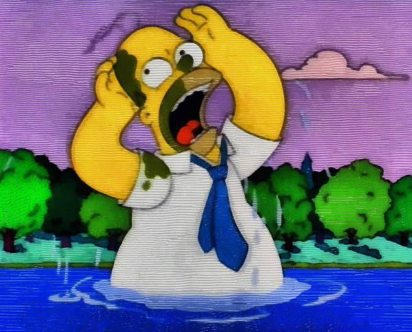 Digital Art - Baptism Of Homer Simpson by Mario Carini