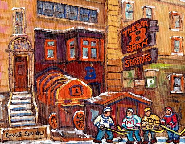 Painting - Bar B Barn Spare Ribs Restaurant Rue Guy Montreal Landmark Hockey Art C Spandau Winter Street Scene  by Carole Spandau