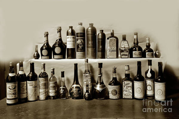 Photograph - Bar Display Whiskey Bottle Theo. Gier Co. Grand Mariner Manda by California Views Archives Mr Pat Hathaway Archives