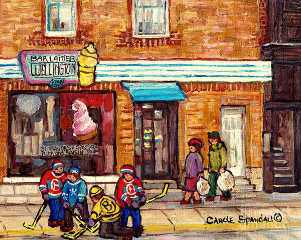 Painting - Bar Laitier Wellington Ice Cream Parlor Verdun Storefront Street Hockey Tournament C Spandau Artist by Carole Spandau