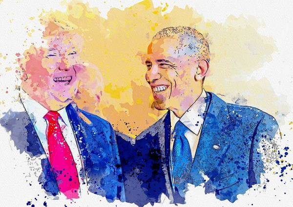 Wall Art - Painting - Barack Obama And Donald Trump -  Watercolor By Ahmet Asar by Ahmet Asar