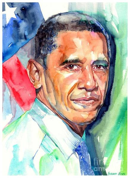 Barack Obama Painting - Barack Obama Watercolor by Suzann Sines