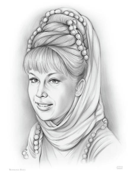 Television Drawing - Barbara Eden by Greg Joens
