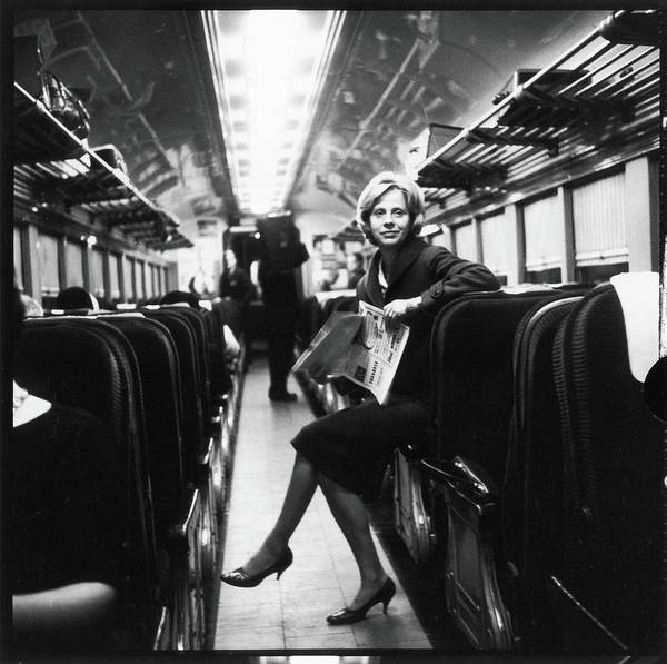 Poet Photograph - Barbara Guest On Train by Fred W. McDarrah