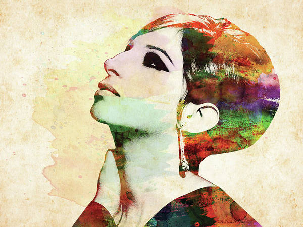 Nina Simone Wall Art - Digital Art - Barbara Streisand Colorful Watercolor by Mihaela Pater