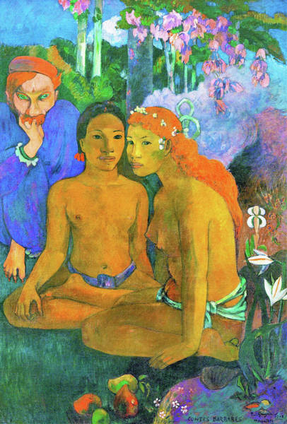 Wall Art - Painting - Barbarian Tales - Digital Remastered Edition by Paul Gauguin