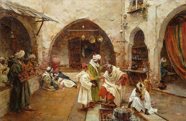 Wall Art - Painting - Barber At The Souk, 1897 by Enrique Simonet