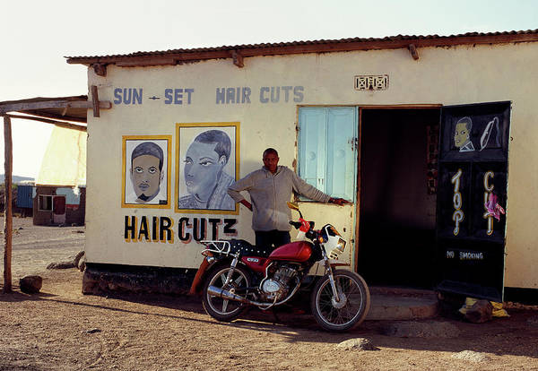 Real People Photograph - Barber Outside His Shop by Harry Hook