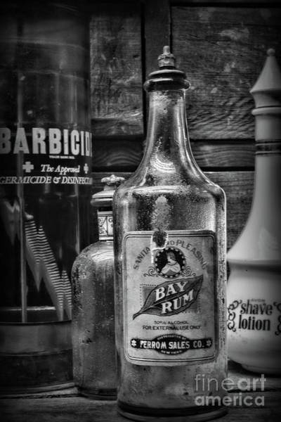 Wall Art - Photograph - Barber-vintage Bay Rum Aftershave In Black And White by Paul Ward