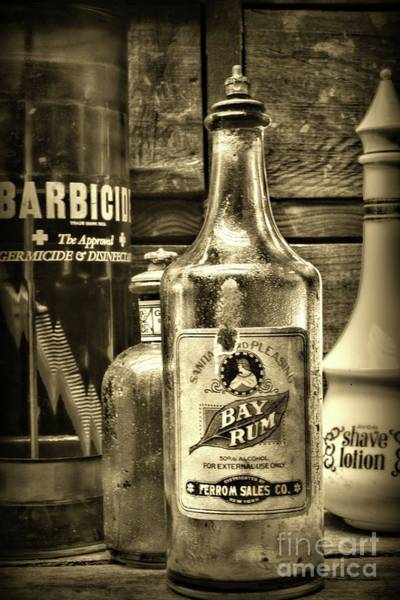 Wall Art - Photograph - Barber-vintage Bay Rum Aftershave In Sepia by Paul Ward