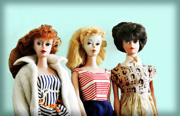 Photograph - Barbies On Blue by Marilyn Hunt