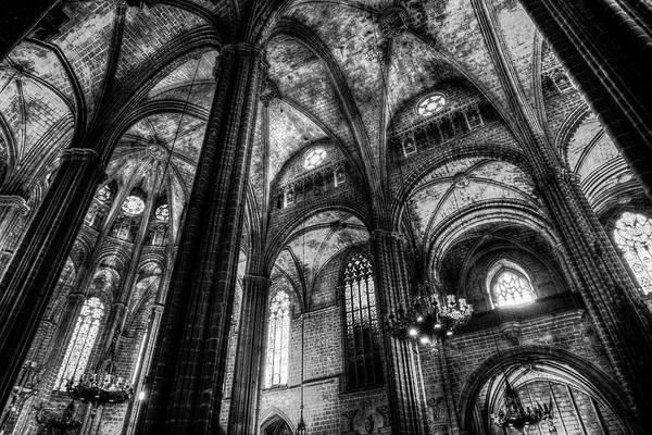 Wall Art - Photograph - Barcelona Cathedral Monochrome by David Pyatt
